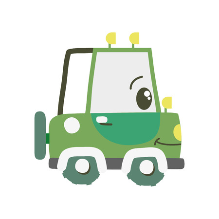 colorful kawaii happy tractor vehicle transport vector illustration Vectores