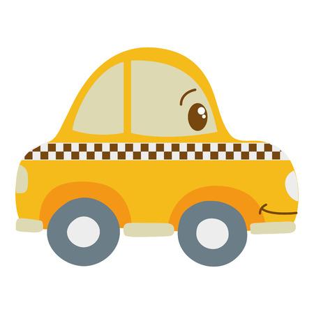 colorful kawaii happy taxi car transport vector illustration