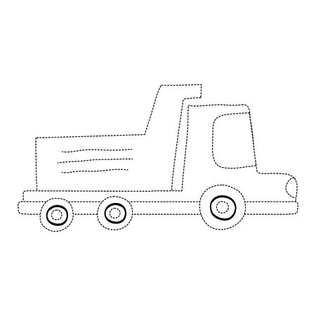 Dotted dump truck icon Illustration