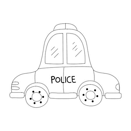 Dotted emergency police car icon Illustration