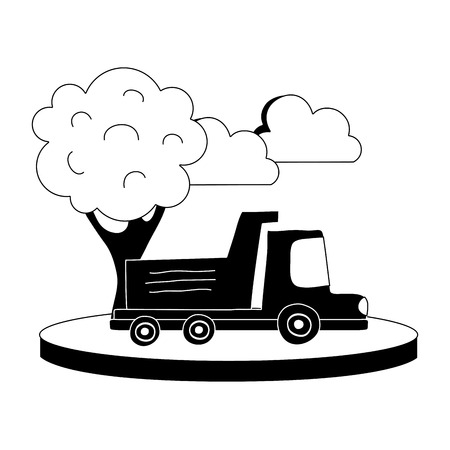 Dump truck in the city with clouds and tree