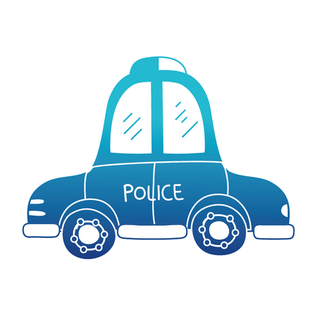 blue silhouette emergency police car transport with siren