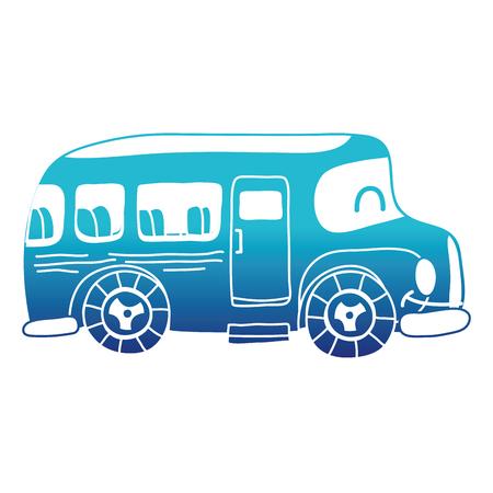 blue silhouette kawaii smile school bus transport vector illustration
