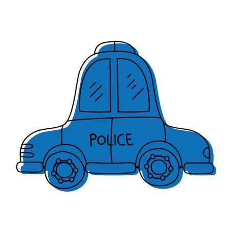 color emergency police car transport with siren Illustration