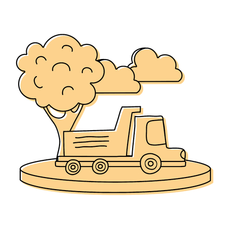 color dump truck in the city with clouds and tree