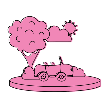 color sport car in the city with tree and cloud Illustration
