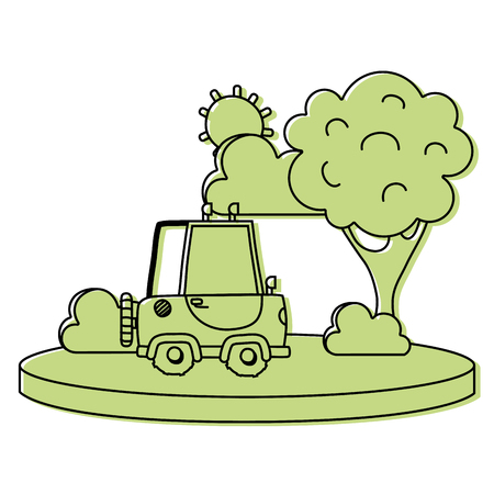 color agrimotor car in the city with tree and sun Illustration