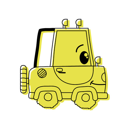 color kawaii happy tractor vehicle transport vector illustration
