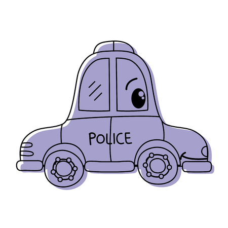 color kawaii happy police car transport vector illustration Vectores
