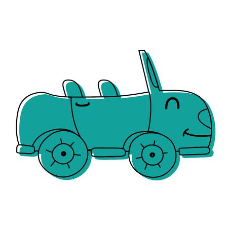 color kawaii smile sport car transport vector illustration Vectores