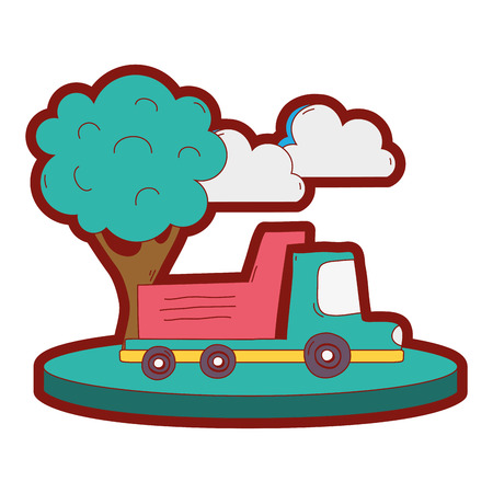 line color dump truck in the city with clouds and tree