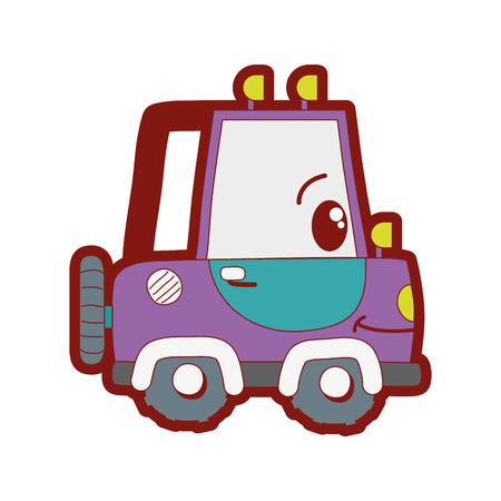 line color kawaii happy tractor vehicle transport