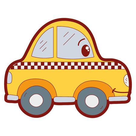 line color  happy taxi car transport vector illustration