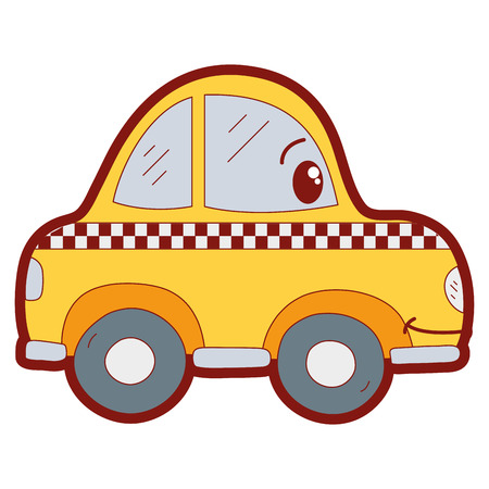line color  happy taxi car transport vector illustration