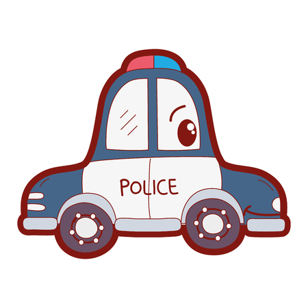 line color  happy police car transport vector illustration Vectores