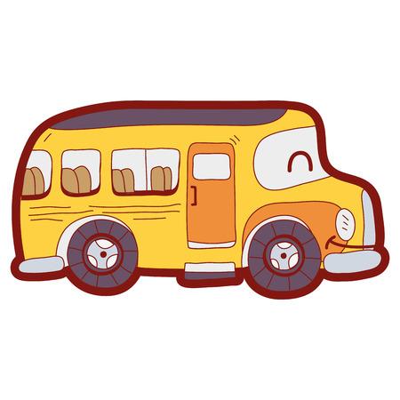 line color  smile school bus transport vector illustration