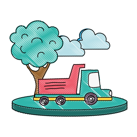 grated dump truck in the city with clouds and tree vector illustration Illustration