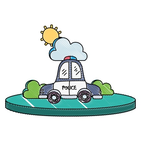 grated police car service with cloud and sun vector illustration
