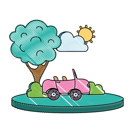 grated sport car in the city with tree and cloud vector illustration