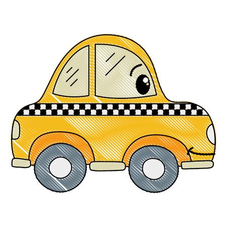 grated kawaii happy taxi car transport Vectores