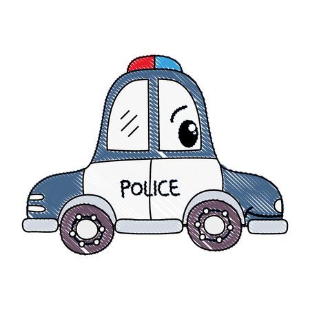 Grated happy police car transport vector illustration.