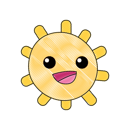 Grated happy sun with lights ray vector illustration.