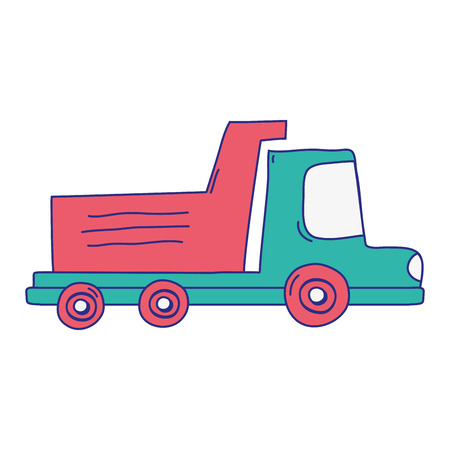full color dump truck industry and contruccion vehicle vector illustration