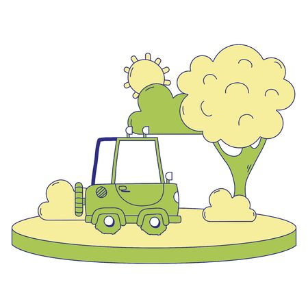 Full color agri-motor car in the city with tree and sun vector illustration.