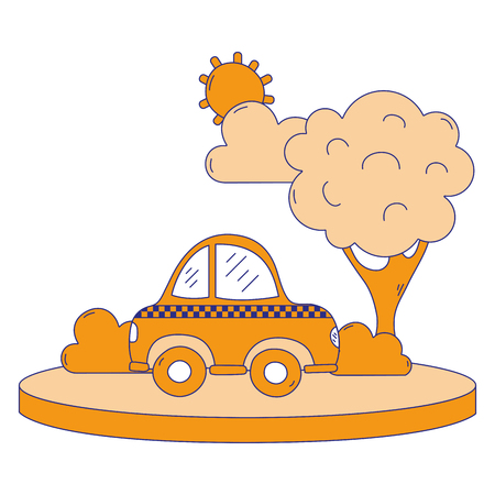 Full color taxi car service in the city with tree vector illustration.