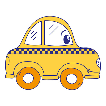 full color  happy taxi car transport vector illustration