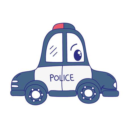 full color  happy police car transport vector illustration Ilustracja