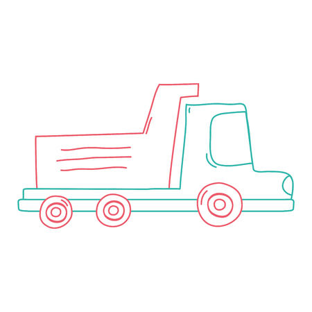 Color line dump truck industry and contruction vehicle Illustration
