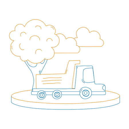 Color line dump truck in the city with clouds and tree vector illustration.