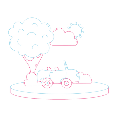 Color line sport car in the city with tree and cloud vector illustration.