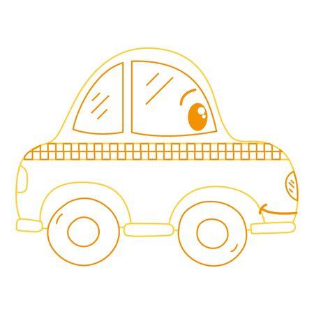 color line   happy taxi car transport vector illustration