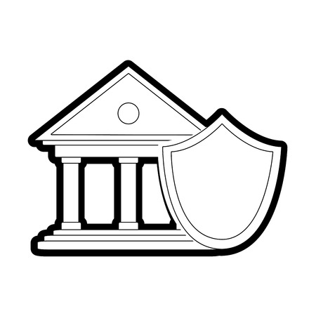 line finance bank economy with shield security Illustration