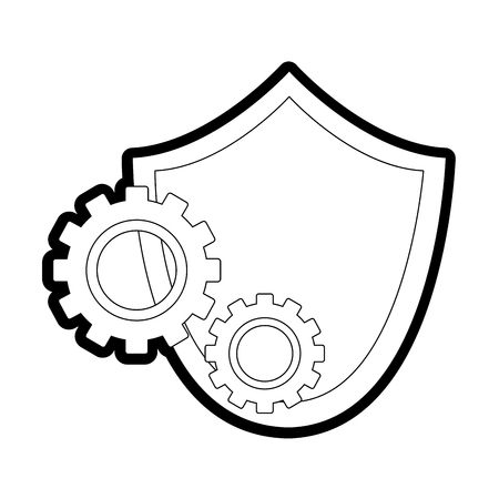 Shield security with gear Illustration