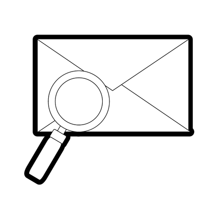 line e-mail letter message with magnifying glass