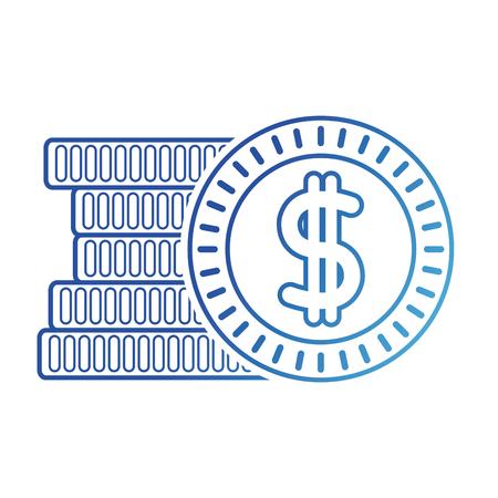 blue line coins cash money with peso symbol