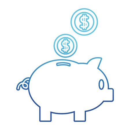 Blue line piggy to save money and coins with peso symbol