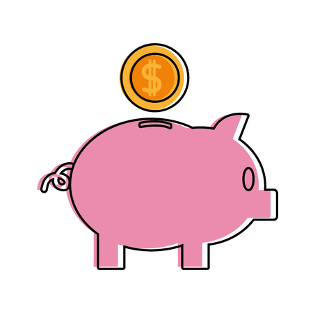 Color piggy to save money and coins with peso symbol vector illustration Illustration