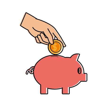 Color piggy to save money and hand with coin vector illustration