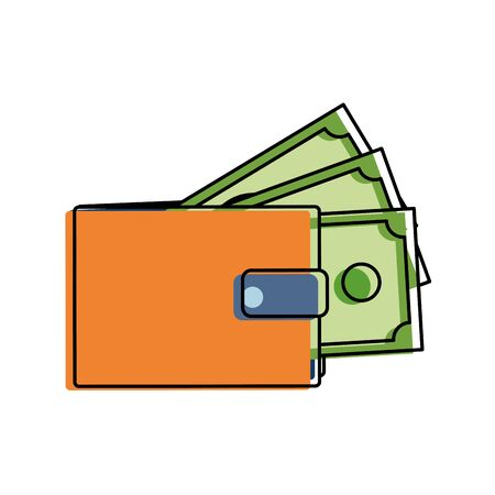 color wallet with bills cash money guarded