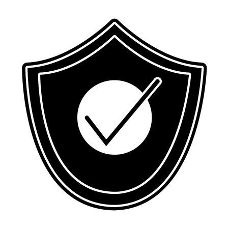 Silhouette shield security and protection object to defense vector illustration