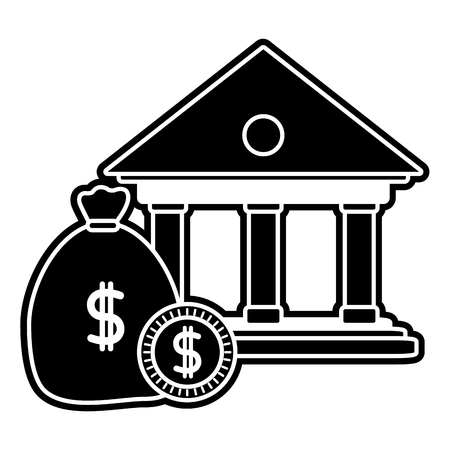 silhouette finance bank with money bag and coins