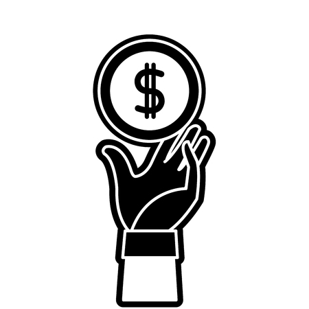 silhouette coin with peso symbol and hand up Illustration