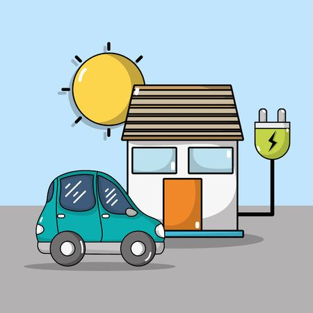 electric car and house with power cable