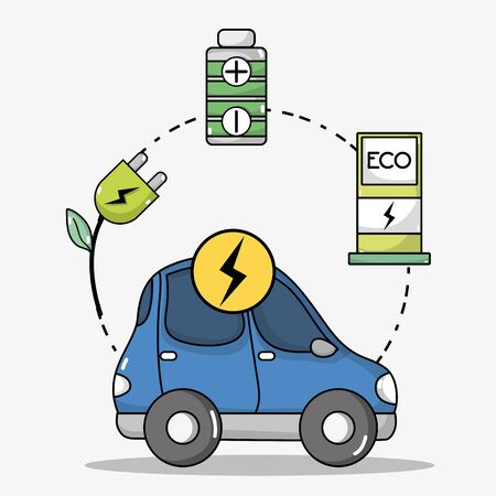 Electric car transportation with battery technology vector illustration