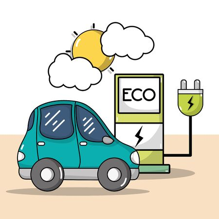 Recharge station with power cable and electric car vector illustration