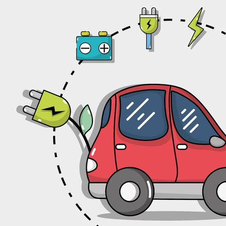electric car technology with recharge battery Illustration